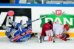 Mislav Blagus (KHL Medvescak Zagreb, #66) vs Andrej Zidan (HK Acroni Jesenice, #72) during ice-hockey match between KHL Medvescak Zagreb and HK Acroni Jesenice in 39th Round of EBEL league, on Januar 8, 2012 at Arena Zagreb, Zagreb, Croatia. (Photo By Matic Klansek Velej / Sportida)