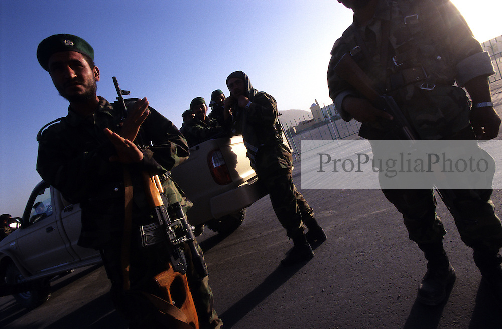 Afghanistan, 25 July 2005.Soldiers on  the streets of Kabul.