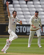 Graham Onions (Durham County Cricket Club) celebrates taking the wicket of Sam Hain(Warwickshire County Cricket Club) during the LV County Championship Div 1 match between Durham County Cricket Club and Warwickshire County Cricket Club at the Emirates Durham ICG Ground, Chester-le-Street, United Kingdom on 15 July 2015. Photo by George Ledger.