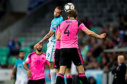 Tim Matavz of Slovenia vs Christophe Berra  of Scotland during football match between National Teams of Slovenia and Scotland of Fifa 2018 World Cup European qualifiers, on October 8, 2017 in SRC Stozice, Ljubljana, Slovenia. Photo by Vid Ponikvar / Sportida