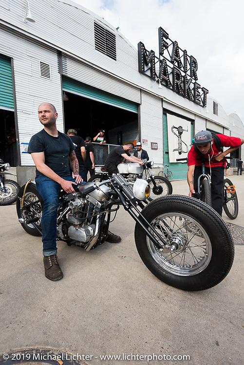 Frankie Bowman's (Bowman Motorcycles - St. Petersburg, FL) on his custom Harley-Davidson Ironhead Sportster on Sunday after the Handbuilt Motorcycle Show. Austin, TX. April 12, 2015.  Photography ©2015 Michael Lichter.