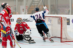 Slovakia scores another goal at inline hockey match between Slovakia and Austria at HorjulCup, on June 10, 2011 in Sportni park, Horjul, Slovenia. (Photo by Matic Klansek Velej / Sportida)
