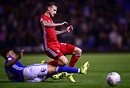 Joe Bennett of Cardiff City (r)  is tackled by Che Adams of Birmingham .EFL Skybet championship match, Birmingham city v Cardiff city at St.Andrew's stadium in Birmingham, the Midlands on Friday 13th October 2017.<br /> pic by Bradley Collyer, Andrew Orchard sports photography.