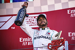 May 12, 2019 - Barcelona, Catalonia, Spain - LEWIS HAMILTON (GBR) from team Mercedes  celebrates his victory of the Spanish GP presenting his cup on the podium at the Circuit de Barcelona - Catalunya (Credit Image: © Matthias Oesterle/ZUMA Wire)