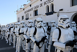 May 5, 2018 - Malaga, Spain - Thousands of people gather in Malaga to see the charity Star Wars parade organized by the Andres Olivares Foundation.The members of the Legion 501, More than 200 uniformed soldiers have left the Palm of Surprises the Android R2-KT, unique in Europe. After them, 170 members of the Legion 501, ten of the Mandalorian Mercs and 48 cadets of the Galactic (Credit Image: © Lorenzo Carnero via ZUMA Wire)