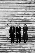 01212017 - Washington D.C., USA:  First Lady Melania Trump, 45th President Donald Trump, 44th president Barack Obama and former first lady Michelle Obama stand on the East Steps of the Capitol after Trump's inauguration swearing in ceremony. The Obamas boarded a Marine helicopter and flew past the capitol after the peaceful transfer of power.