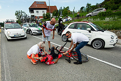 Injured Adam STACHOWIAK of HRE MAZOWSZE SERCE during 1st Stage of 27th Tour of Slovenia 2021 cycling race between Ptuj and Rogaska Slatina (151,5 km), on June 9, 2021 in Slovenia. Photo by Vid Ponikvar / Sportida