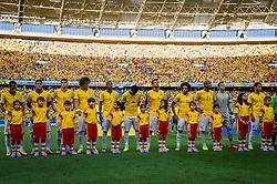 Equipe do Brasil na partida entre Brasil x Colombia, válida pelas quartas de final da Copa do Mundo 2014, no Estádio Castelão, em Fortaleza-CE. FOTO: Jefferson Bernardes/ Agência Preview