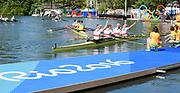 "Rio de Janeiro. BRAZIL.   2016 Olympic Rowing Regatta. Lagoa Stadium, Gld Mdalist Men's Quadruple Sculls GER M4X,  b Philipp Wende, 2 Lauritz Schoof, 3 Karl Schulze, s Hans Gruhne ,  Copacabana,  ""Olympic Summer Games""<br /> Rodrigo de Freitas Lagoon, Lagoa.   Thursday  11/08/2016 <br /> <br /> [Mandatory Credit; Peter SPURRIER/Intersport Images]"