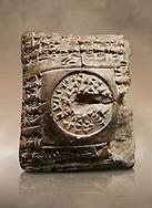 Hittite cuneiform clay tablet. A Property donation deed - Hattusa (Bogazkoy),  1700 BC to 1500BC - Museum of Anatolian Civilisations, Ankara, Turkey,  Against a warm art  background
