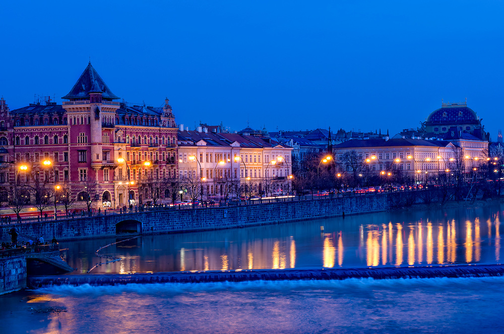 View of Old Town Prague at night and Vlatava River
