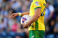 Norwich City's Ivo Pinto holds a Mitre match football with the new EFL Sky Bet Football League logo on show on his shirt sleeve <br /> <br /> Photographer Chris Vaughan/CameraSport<br /> <br /> Football - The EFL Sky Bet Championship - Blackburn Rovers v Norwich City - Saturday 6th August 2016 - Ewood Park - Blackburn<br /> <br /> World Copyright © 2016 CameraSport. All rights reserved. 43 Linden Ave. Countesthorpe. Leicester. England. LE8 5PG - Tel: +44 (0) 116 277 4147 - admin@camerasport.com - www.camerasport.com