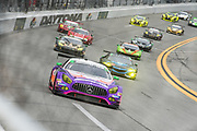 January 24-27, 2019. IMSA Weathertech Series ROLEX Daytona 24. Start of the 57th Daytona 24 #33 Mercedes-AMG Team Riley Motorsports Mercedes-AMG GT3, GTD: Ben Keating, Jeroen Bleekemolen, Luca Stolz, Felipe Fraga , throwback livery