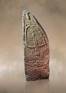 Late European Neolithic prehistoric Menhir standing stone with carvings on its face side. The representation of a stylalised male figure starts at the top with a long nose from which 2 eyebrows arch around the top of the stone. below this is a carving of a falling figure with head at the bottom and 2 curved arms encircling a body above. at the bottom is a carving of a dagger running horizontally across the menhir. Excavated from Perida Iddocca VII site,  Laconi.  Menhir Museum, Museo della Statuaria Prehistorica in Sardegna, Museum of Prehoistoric Sardinian Statues, Palazzo Aymerich, Laconi, Sardinia, Italy. Warm art background.<br /> <br /> Visit our PREHISTORIC PLACES PHOTO COLLECTIONS for more  photos to download or buy as prints https://funkystock.photoshelter.com/gallery-collection/Prehistoric-Neolithic-Sites-Art-Artefacts-Pictures-Photos/C0000tfxw63zrUT4