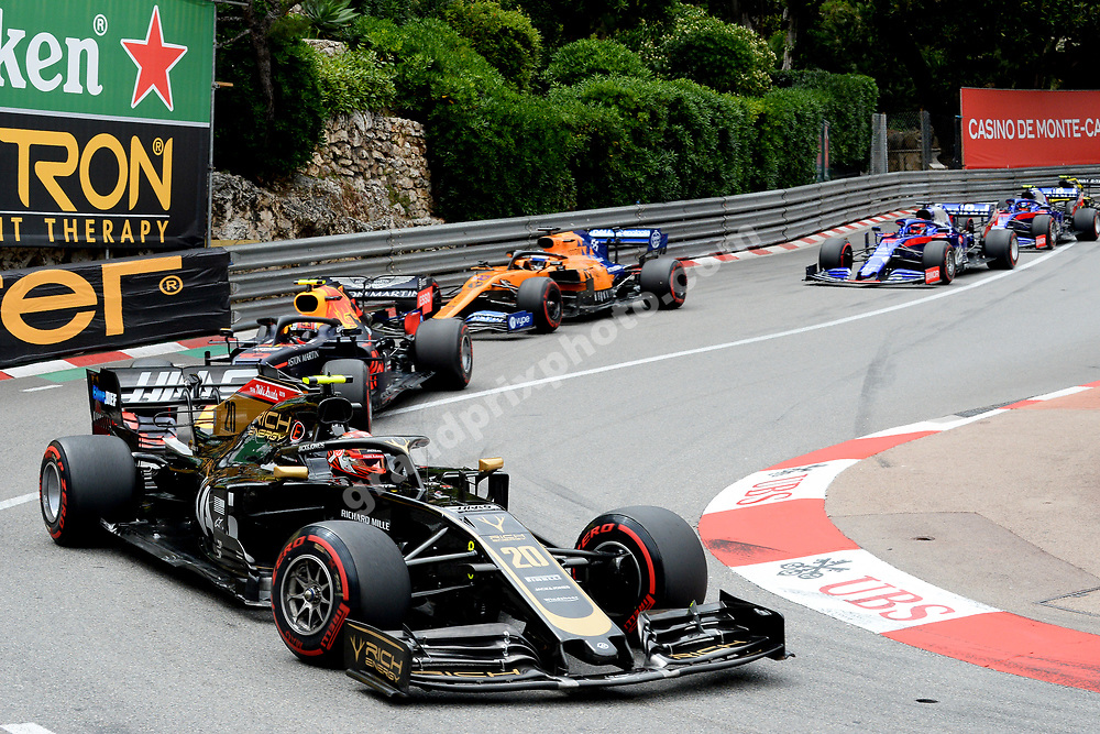 Kevin Magnussen (Haas-Ferrari) leading the field during the 2019 Monaco Grand Prix. Photo: Grand Prix Photo