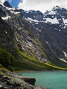 Lake Marian and the Darran Mountains on an overcast day, Fiordland National Park, Southland, New Zealand