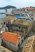 Elevated view of harbour and tiled roofs, Dubrovnik old town, Croatia