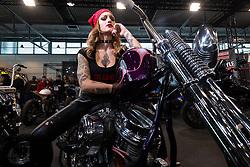Eva Blackhell of Padova, Italy on a custom Harley-Davidson Panhead in the LowRide Magazine's bike show at Motor Bike Expo (MBE) bike show. Verona, Italy. Saturday, January 18, 2020. Photography ©2020 Michael Lichter.