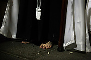 A barefoot penitent. General Procession of Good Friday considered<br /> Cultural Heritage of Mataró city (Barcelona, Spain) since 2013.  Easter 2015. Eva Parey/4SEE
