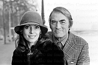 American actor Gregory Peck on a visit to London with his wife Veronique Peck formerly Veronique Passani 1973. Peck starred in Hollywood movies including 'To Kill a Mocking Bird' and 'The Omen' plus many more. He married Veronique Passani a French-American arts patron, philanthropist and journalist in 1955 and remained together until his death in 2003.Photograph by terry Fincher
