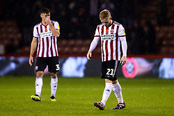 Mark Duffy of Sheffield United cuts a dejected figure after a draw against Sheffield Wednesday - Mandatory by-line: Robbie Stephenson/JMP - 09/11/2018 - FOOTBALL - Bramall Lane - Sheffield, England - Sheffield United v Sheffield Wednesday - Sky Bet Championship