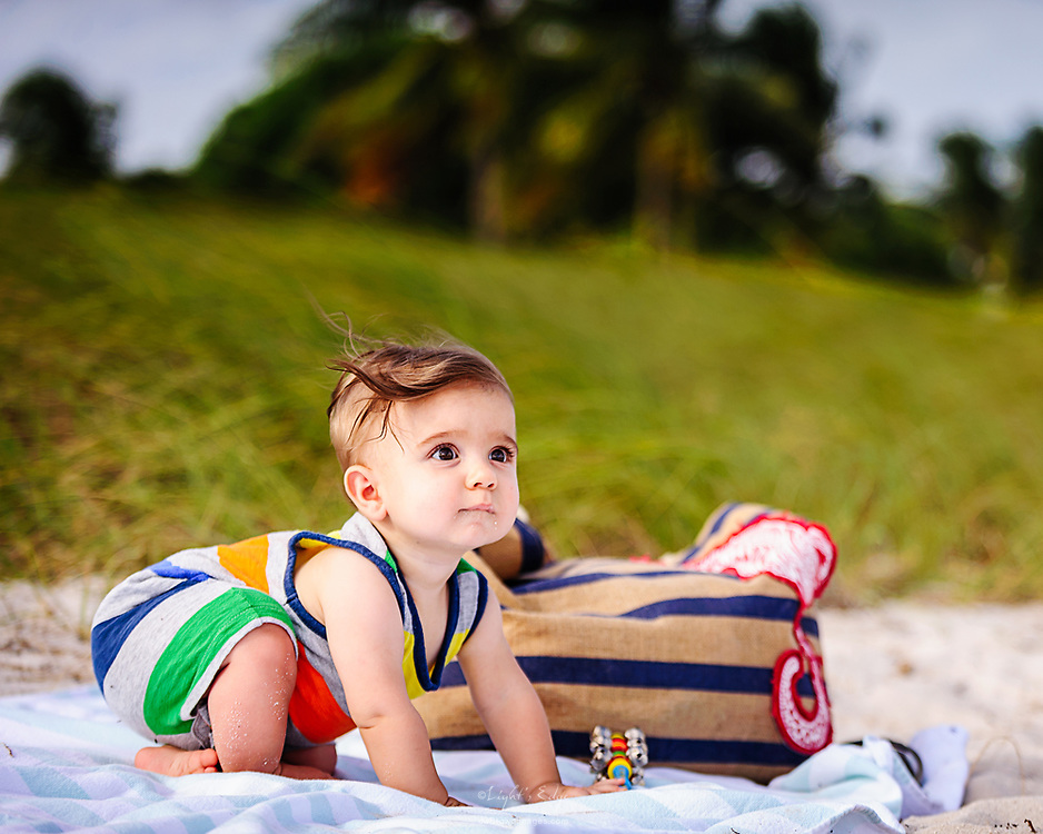 Lucas looking ready to get on to the next phase of his beach time.