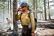 22 JUNE 2010 - FLAGSTAFF, AZ: Sean Inman (CQ) from the Groveland Hot Shots (CQ) carries a chain saw on the line at the Schultz Fire burning north of Flagstaff, AZ. The fire has consumed more than 12,000 acres of forest land and burned within a few feet of homes in some neighborhoods in Flagstaff.    PHOTO BY JACK KURTZ