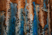 Rust, old corrugated iron building, Australian science base, subantarctic Macquarie Island