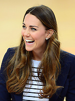 The Duchess of Cambridge attends a SportsAid Athlete Workshop at the Copper Box, Queen Elizabeth Olympic Park, London, UK, on the 18th October 2013<br /> <br /> Picture by James Whatling