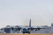 An 8 -bladed propellor version of a Lockheed KC-130T Hercules transport aircraft with the VR-55 Fleet Logitical Support Squadron (The Minutemen) of the US Navy prepares for take off from Naval Air Facility, Atsugi near Yamato, Kanagawa, Japan. Thursday January 30th 2020
