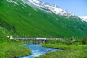 Alaska Railroad crossing bear Creek in Bear Valley, near Portage, Alaska
