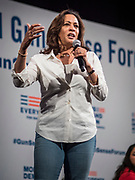 10 AUGUST 2019 - DES MOINES, IOWA: Senator KAMALA HARRIS, (D-CA), a Democratic Presidential candidate, answers questions from gun violence survivors at the Presidential Gun Sense Forum. Several thousand people from as far away as Milwaukee, WI, and Chicago, came to Des Moines Saturday for the Presidential Gun Sense Forum. Most of the Democratic candidates for president attended the event, which was organized by Moms Demand Action, Every Town for Gun Safety, and Students Demand Action.              PHOTO BY JACK KURTZ