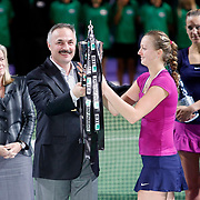 Petra Kvitova (2ndR) of Czech Republic holds up the trophy after she won the final match against Victoria Azarenka of Belarus at the WTA Championships tennis tournament in Istanbul, Turkey on 30 October 2011. Photo by TURKPIX