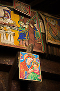Paintings depicting the story of Abune Aregawi ascending the serpent to Debre Damo. West of Adigrat, Tigray Region. Ethiopia, Horn of Africa