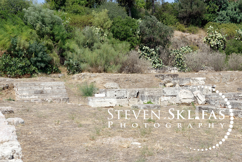The New Bouleuterion or council house. Ancient Agora. Athens. Greece.  The Bouleuterion served as a meeting place of the 500-member Boule (council), made up of fifty citizens from each of the ten Athenian tribes chosen by allotment each year. It dates from around the end of the 5th century BC.