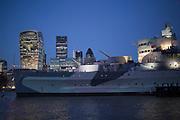 HMS Belfast and the City of London skyline, England, UK.