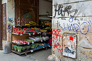 A fruit and vegetable stall in Smichov district, Prague 5, on 19th March, 2018, in Prague, the Czech Republic.