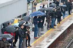 © Licensed to London News Pictures. 01/11/2018. Pettswood, UK. A rainy weather morning for commuters at  Pettswood train station, Pettswood. Photo credit: Grant Falvey/LNP