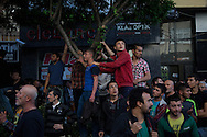 Protesters and mourners on Friday afternoon in Soma, the town below the Soma coal mine where an electrical fault resulted in the death and injury of hundreds of miners.