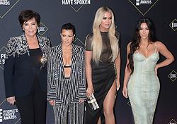 45th Annual Peoples Choice Awards Arrivals. 10 Nov 2019 Pictured: Kris Jenner, Kourtney Kardashian, Khloe Kardashian. Kim Kardashian. Photo credit: MEGA TheMegaAgency.com +1 888 505 6342