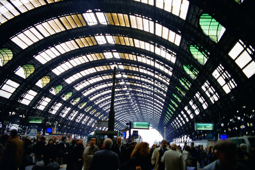 Train station in Milan, Italy.