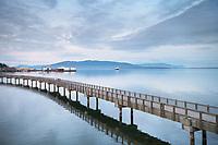Alaska Ferry in Bellingham Bay, from Boulevard Park Boardwalk, Bellingham Washington