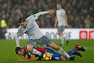 Gylfi Sigurdsson of Everton (L) fouls James McArthur of Crystal Palace (on ground ). Premier League match, Crystal Palace v Everton at Selhurst Park in London on Saturday 18th November 2017.<br /> pic by Steffan Bowen, Andrew Orchard sports photography.