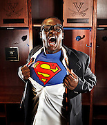 UVa football runningback Perry Jones is known to his teammates as Superman because of his speed and strength on the field. Photo/Andrew Shurtleff