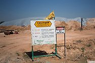 Warning sign at a Halliburton fracking site in Big Spring Texas, part of the  Permian Basin.