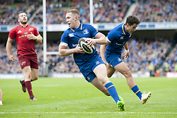 October 7, 2017 - Dublin, Ireland - Rory O'Loughlin of Leinster runs for score a try during the warm-up during the Guinness PRO14 match between Leinster Rugby and Munster Rugby at Aviva Stadium in Dublin, Ieland on October 7, 2017  (Credit Image: © Andrew Surma/NurPhoto via ZUMA Press)
