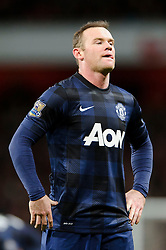 Man Utd Forward Wayne Rooney (ENG) looks frustrated - Photo mandatory by-line: Rogan Thomson/JMP - 07966 386802 - 12/02/14 - SPORT - FOOTBALL - Emirates Stadium, London - Arsenal v Manchester United - Barclays Premier League.