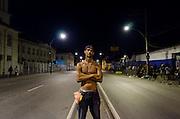 Crackland near Manguinhos shantytown. A man poses for a portrait.