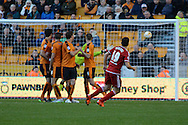 Middlesbrough midfielder Stewart Downing scores a goal from a free kick goes during the Sky Bet Championship match between Wolverhampton Wanderers and Middlesbrough at Molineux, Wolverhampton, England on 24 October 2015. Photo by Alan Franklin.