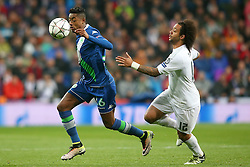 12.04.2016, Estadio Santiago Bernabeu, Madrid, ESP, UEFA CL, Real Madrid vs VfL Wolfsburg, Viertelfinale, Rueckspiel, im Bild Real Madrid's Marcelo Vieira (r) and WfL Wolfsburg's Bruno Henrique // during the UEFA Champions League Quaterfinal, 2nd Leg match between Real Madrid and VfL Wolfsburg at the Estadio Santiago Bernabeu in Madrid, Spain on 2016/04/12. EXPA Pictures © 2016, PhotoCredit: EXPA/ Alterphotos/ Acero<br /> <br /> *****ATTENTION - OUT of ESP, SUI*****